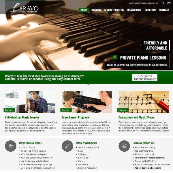 Bravo Music Academy website by Jonas Marketing