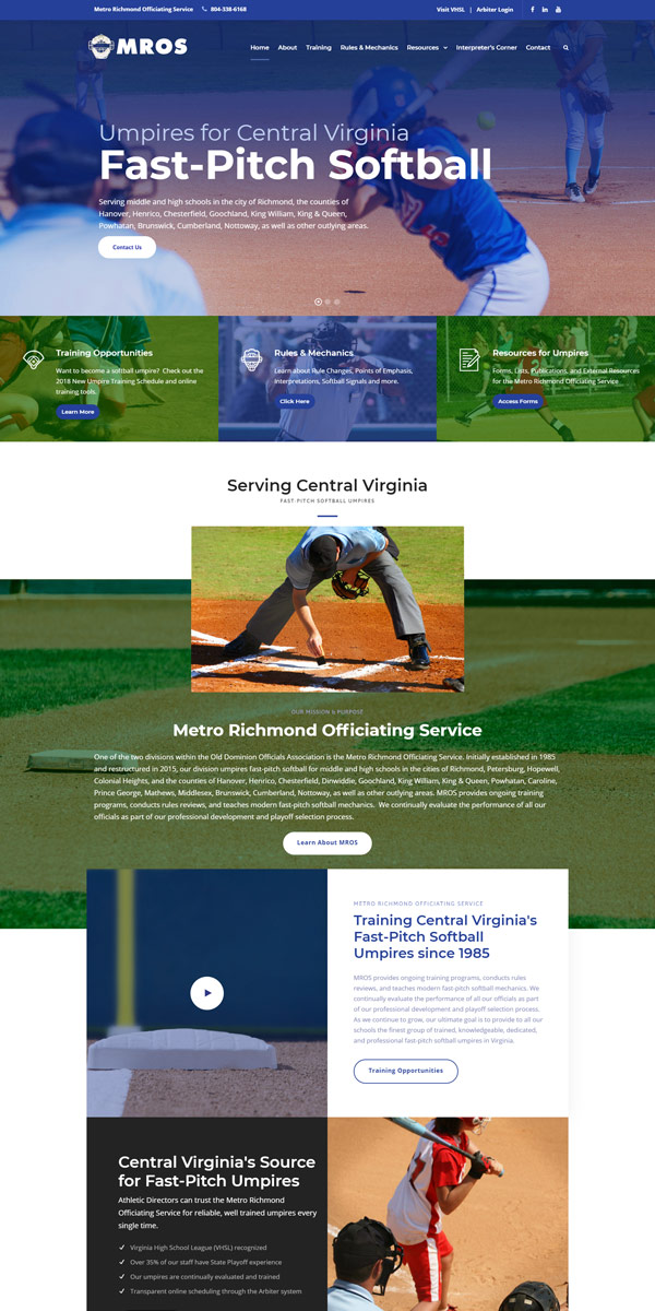 Metro Richmond Officiating Service Website by Jonas Marketing