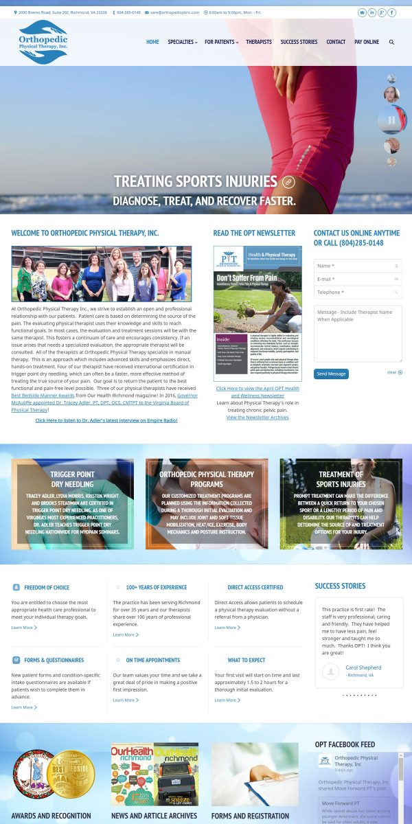 Orthopedic Physical Therapy website by Jonas Marketing
